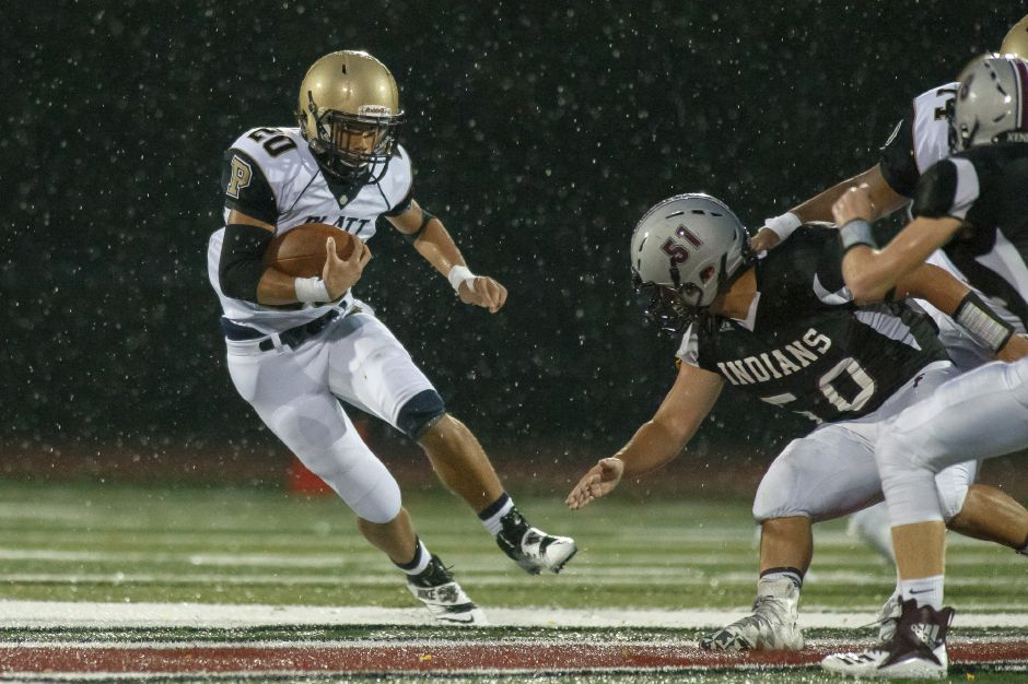 Platt sophomore running back Roberto Salas ran for 180 yards and a touchdown in Thursday night's 27-7 victory at Farmington. He and Sean Bell Jr. made for a diverse attack out of the backfield for the Panthers, who are trying to overcome the loss of two-time 1,000-yard rusher E.J. Dudley, who is out for his senior season with a knee injury. | Justin Weekes / Special to the Record-Journal