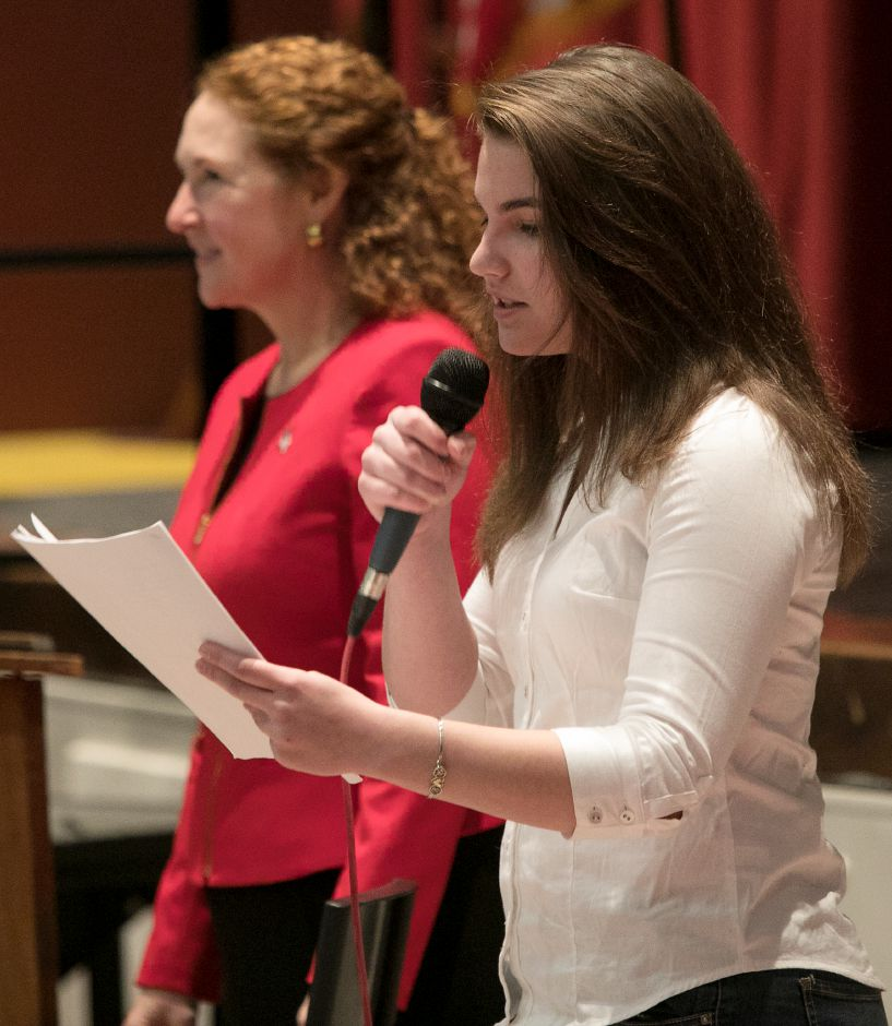Junior student, Elizabeth Feest, 17, speaks next to Congresswoman Elizabeth Esty (CT-5) during a discussion on gun violence prevention and school safety at Cheshire High School, Monday, March 19, 2018. Feest is president of the school