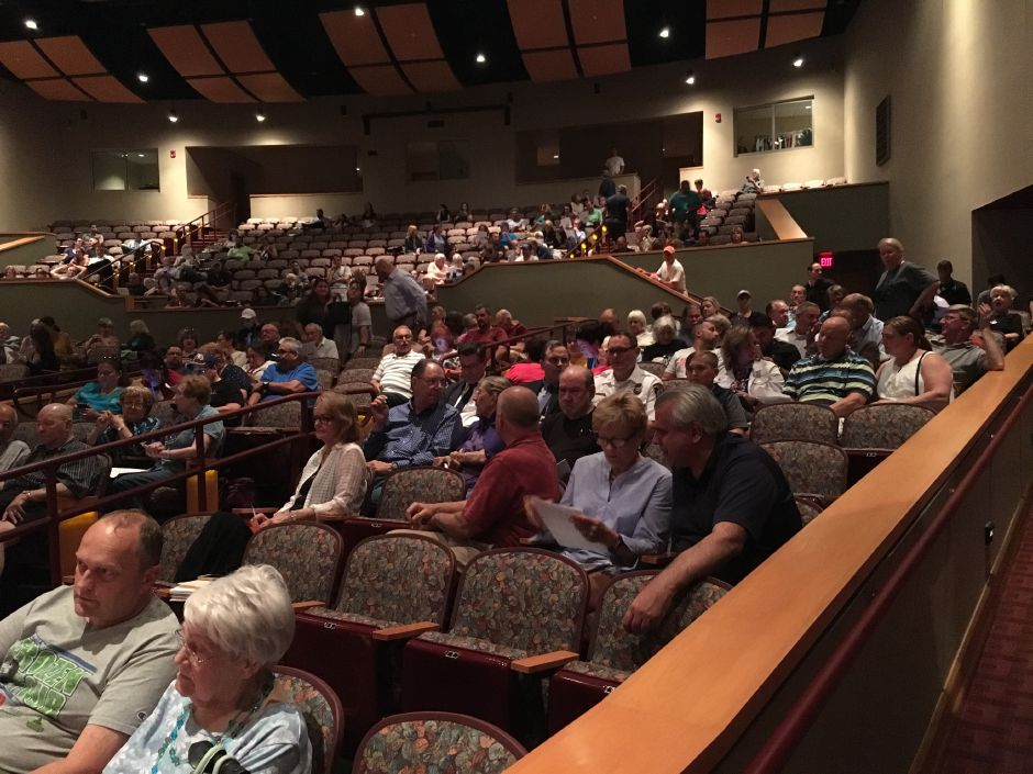 About 200 people attended a town meeting at North Haven High School to vote on items including an anti-fracking waste ordinance on Monday, June 25, 2018. | Lauren Takores, Record-Journal