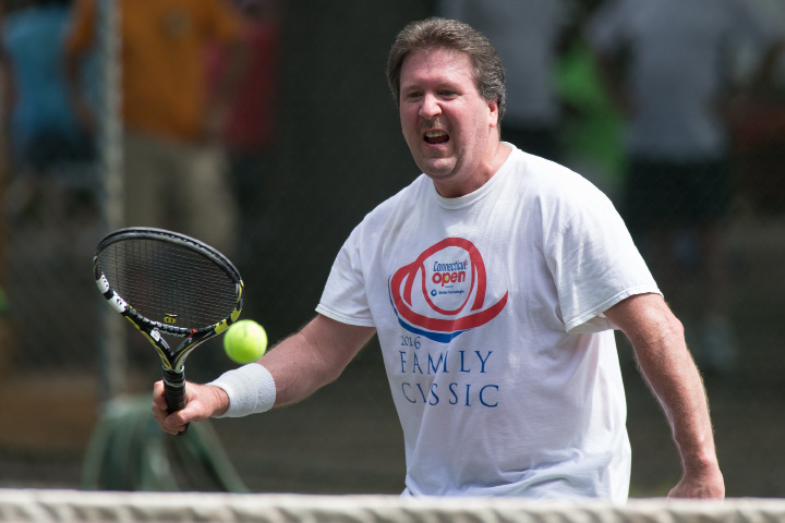 Don Hoover in the mens B singles final Sunday during the Wink Filipek Sr. Memorial Tennis tournament at Copper Valley Swim and Tennis Club in Cheshire Jun. 11, 2017 | Justin Weekes / For the Record-Journal