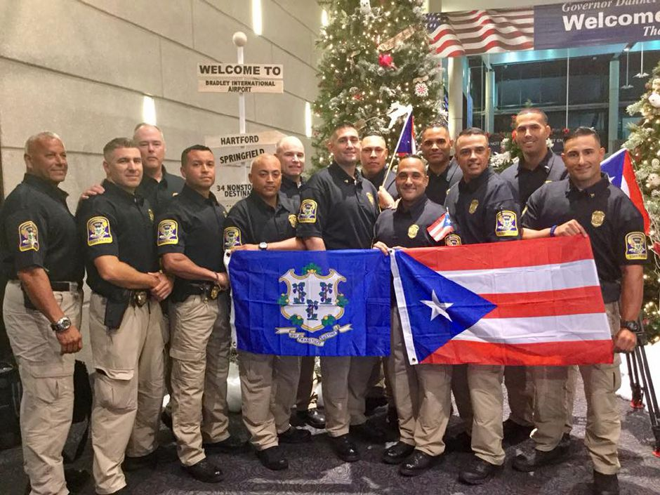 Connecticut State Troopers deployed to Puerto Rico, including Berlin resident Sgt. Alex Giannone, return home after helping with post-hurricane recovery. |Courtesy of CT State Police