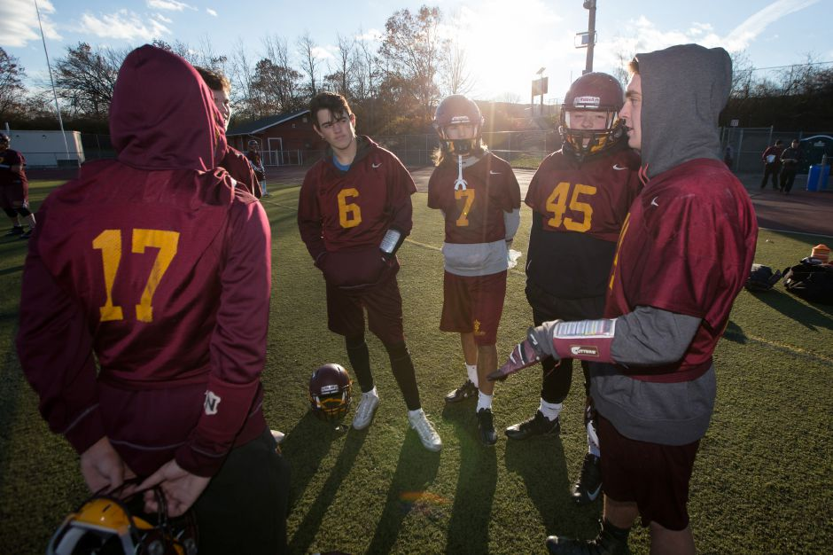 Monday as the Sheehan Titans prepare to take on Joel Barlow in the CIAC quarterfinals at Riccitelli Field in Wallingford November 27, 2017 | Justin Weekes / For the Record-Journal