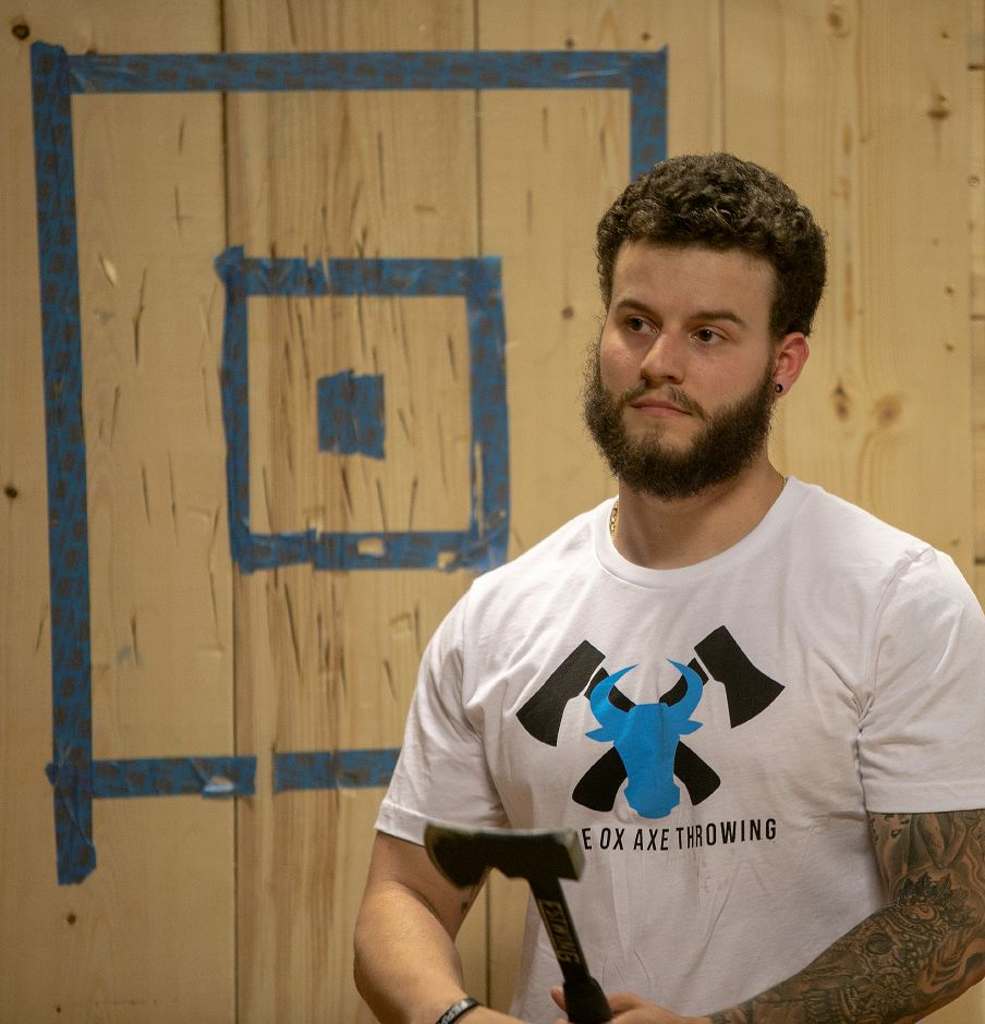 Jerry Ferraro, of Wallingford, co-owner of Blue Ox Axe Throwing, talks about the new business at 21 N. Plains Industrial Rd. in Wallingford, Friday, July 20, 2018. The business opens in August. Dave Zajac, Record-Journal
