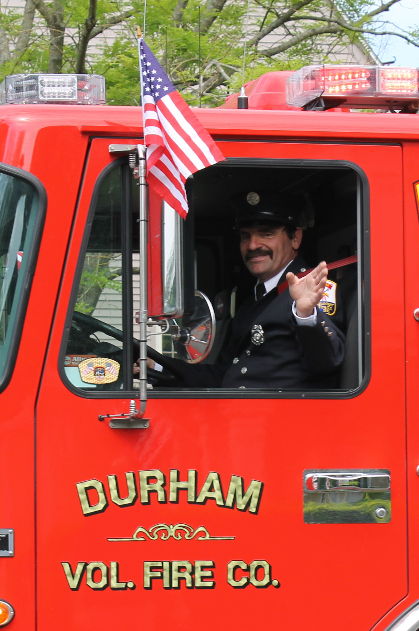 The fire trucks were a familiar site at the annual Memorial Day parade in Durham. | Mark Dionne / Town Times