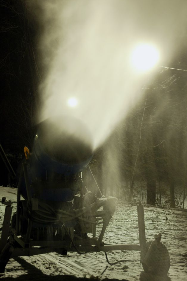 A Lenko snow gun fires snow up into the air over a trail at Mount Southington Ski Area on Dec. 6, 2005. Mount Southington opened on Saturday, Dec. 10.