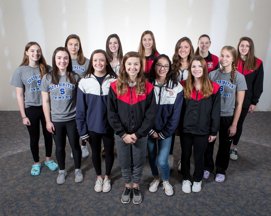 Introducing the inaugural All-Record-Journal Girls Swim Team. In front is Cheshire diver Sienna Breton. She is flanked, left to right, by Lyman Hall teammates Faith Gambardella and Caroline Krawec, and Cheshire's Samantha Grenon. The third row, from, left features Southington's Sarah Meade, Lyman Hall's Sarah Beverage and Southington's Meghan Hammarlund. The girls in back, from left, are Southington's Andie Nadeau and Julie Duszak, Lyman Hall's Kristie Driscoll, and Cheshire teammates Sophie Murphy, Julia Stevens and Nora Bergstrom. | Justin Weekes / Special to the Record-Journal