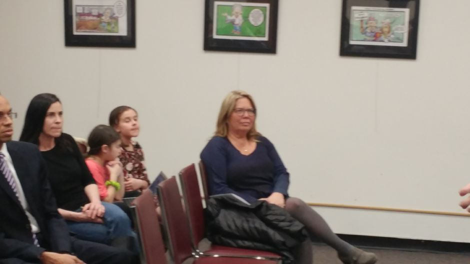 Mary Daugherty Abrams (front row) listens at a March 2018 meeting of the Meriden Democratic Town Committee. Abrams has entered the race for the 13th Senate District. | Mary Ellen Godin, Record-Journal