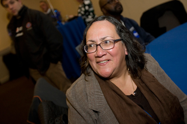 FILE PHOTO -- Democratic incumbent Hilda Santiago smiles after winning the 84th House District during Election Night in Meriden, Tuesday, November 8, 2016.  | Dave Zajac, Record-Journal