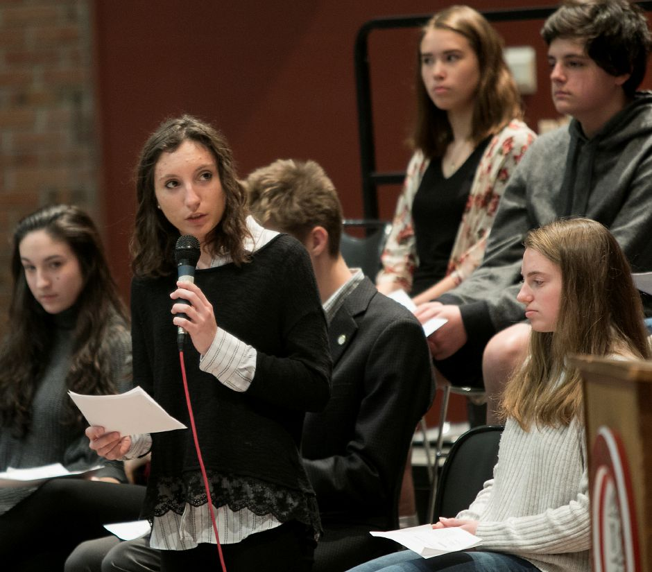 Senior student Lexi Kaider, 17, asks Congresswoman Elizabeth Esty (CT-5) a question during a discussion on gun violence prevention and school safety at Cheshire High School, Monday, March 19, 2018. Dave Zajac, Record-Journal