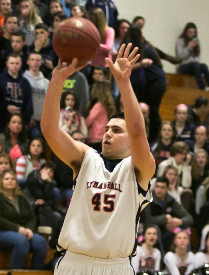 Sheehan at Lyman Hall boys basketball, Feb. 7, 2014. | Christopher Zajac / Record-Journal