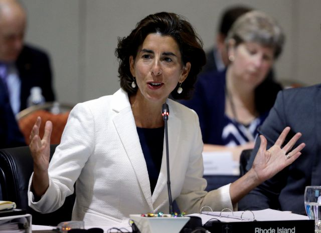 FILE - In this Aug. 29, 2016, file photo, Rhode Island Gov. Gina Raimondo speaks during a conference of New England