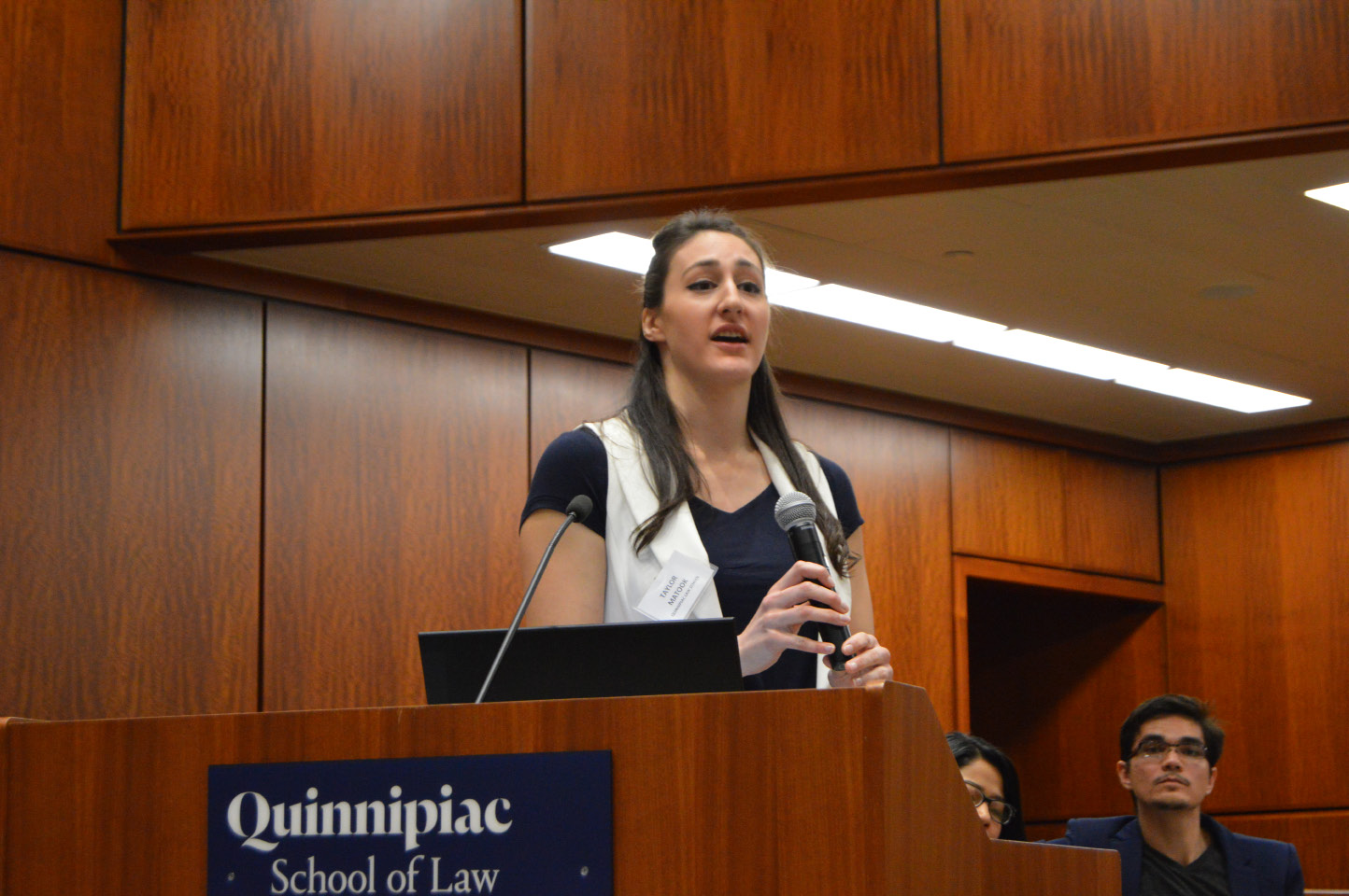 Quinnipiac University student Taylor Matook discusses signs of human trafficking during an event Monday meant to inform hospitality workers. | Mike Savino, Record-Journal