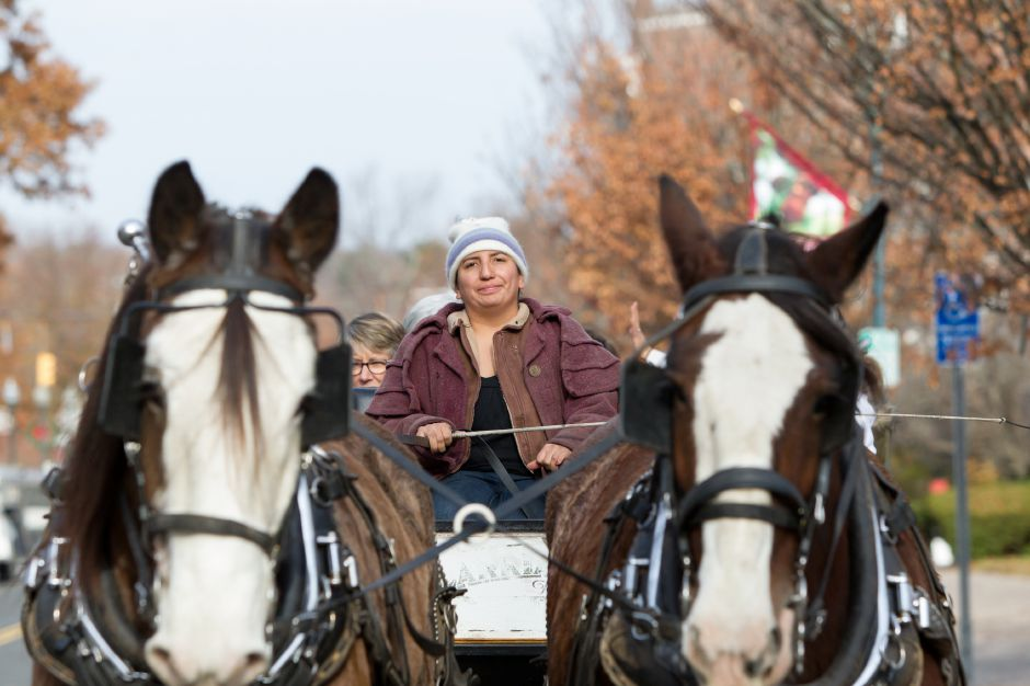 Davinia Saglio drives Ben left and Sam in the carriage ride Saturday during Season of Celebration at the Town Hall in Wallingford December 2, 2017 | Justin Weekes / For the Record-Journal
