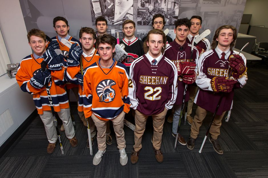 Introducing the 2018-19 All-Record-Journal Ice Hockey Team. In front are Lyman Hall
