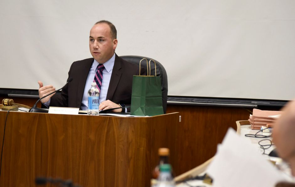 Meriden Mayor Kevin Scarpati at a city council meeting on Monday, Dec. 18. The council passed a resolution to terminate City Manager Guy Scaife effective immediately.
