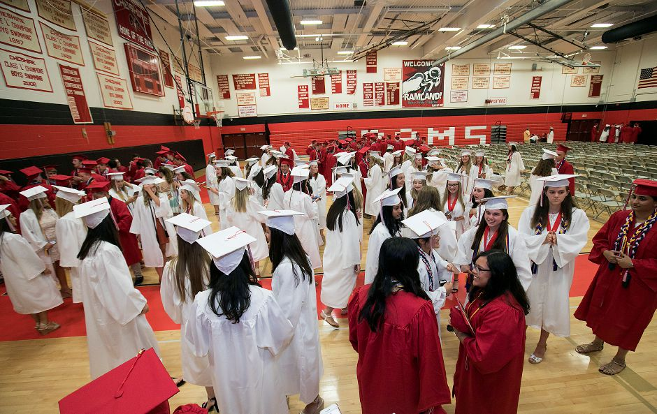 Class of 2018 graduates gather in the gymnasium before the start of graduation ceremonies at Cheshire High School, Thursday, June 21, 2018. Dave Zajac, Record-Journal