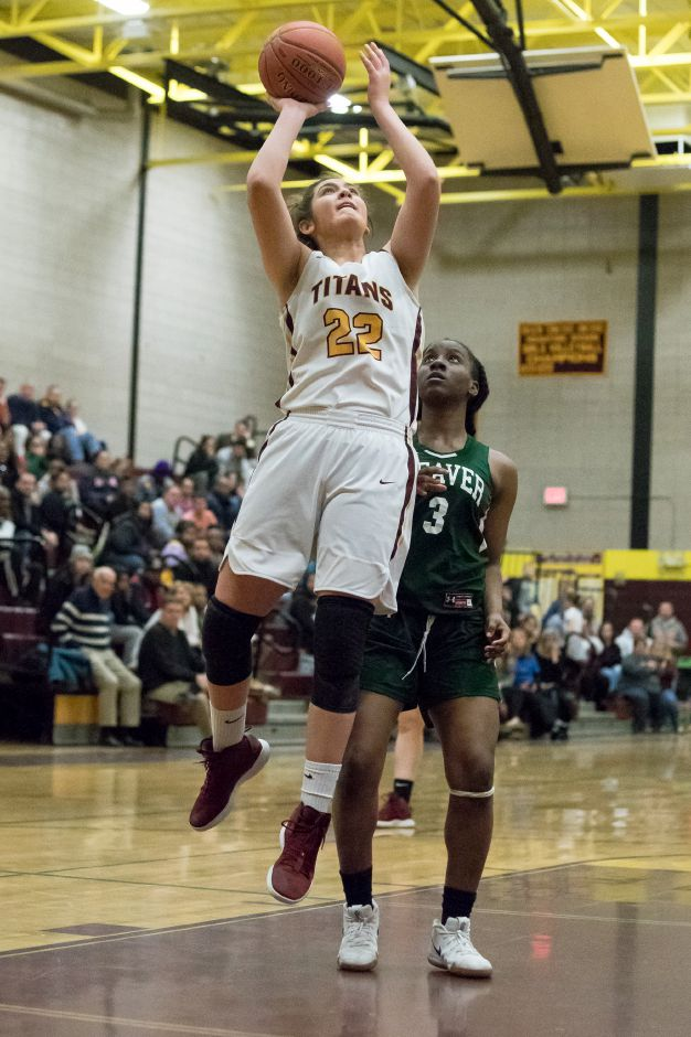 After defeating Weaver 75-55 in the quarterfinals on Thursday night, Olivia Robles and the Sheehan Titans set their sights on Berlin in Monday's Class M state semifinal game at Plainville. Robles is coming off a career-high 30 points against Weaver. | Justin Weekes / Special to the Record-Journal