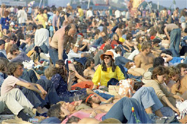 Part of the half a million fans who were at the Pop Festival on the Isle of Wight, England on Aug. 29, 1970. Many pop stars performed over the five day festival, including, The Who, Joan Baez, Jimi Hendrix and Donovan. (AP Photo/Staff/Kemp)
