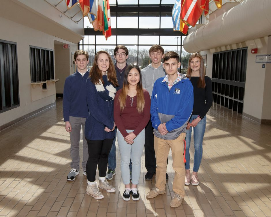 Introducing the Record-Journal Scholar-Athletes selected at Southington High School for the 2017-18 winter season. In front, left to right, are Janette Wadolowski, Jennifer Thai and Zach Monti. In back, left to right, are Evan Bender, Jeff Hannigan, Andrew Lohneiss and Julia McPherson. | Justin Weekes / Special to the Record-Journal