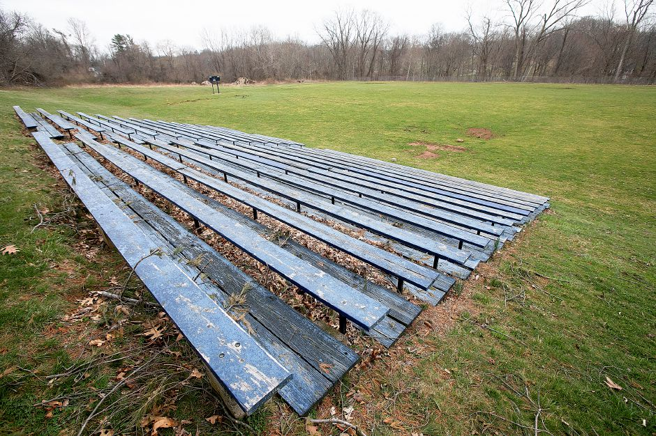 A sports field proposed for AstroTurf behind the Worthington Johnson Athletic Center at Choate Rosemary Hall, Tues., Apr. 9, 2019. Wharton Brook runs through the wooded area behind the field. Dave Zajac, Record-Journal