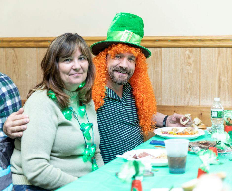 Sue and Andrew Willette have lunch at the Meriden Ancient Order of Hiberians during the Saint Patrick