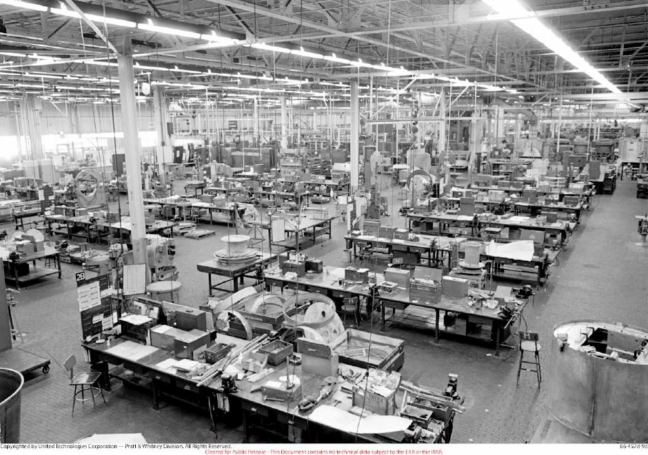 The interior of Pratt & Whitney's North Haven Plant in 1966. | Contributed by Pratt & Whitney