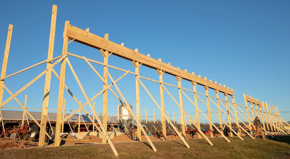 Crews continue construction of a new barn at Muddy Roots Farm in Wallingford, Mon., Jan. 14, 2018. Dave Zajac, Record-Journal