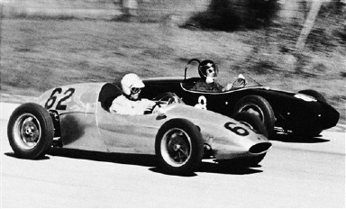 Walt Hansgen of Westfield, N.J., propelled hi-potent Formula Junior sports car No. 62 into the lead on the third lap in Elkhart Lake, Wisconsin on Sept. 10, 1960, and won the 80 mile event at Road America with an average speed of 78.88 miles per hour. Harry Carter of Lakeville Conn., No. 8 even with Hansgen at this point, finished second. Hansgen drove a Cooper and Carter a Lotus. (AP Photo/AWT)