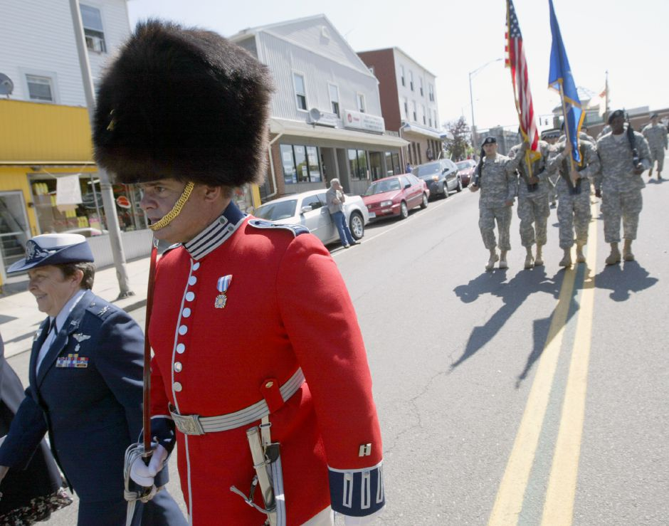 MERIDEN, Connecticut - Saturday, May 30, 2009 - Military personnel march in the Memorial Day Parade as it made its way down East Main Street on Saturday. Rob Beecher / Record-Journal