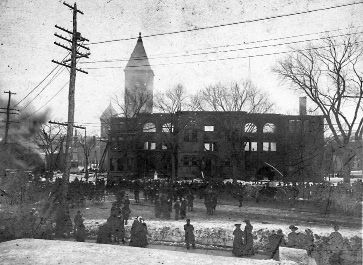 File photo - Meriden Town Hall after the 1904 fire tore through the building.