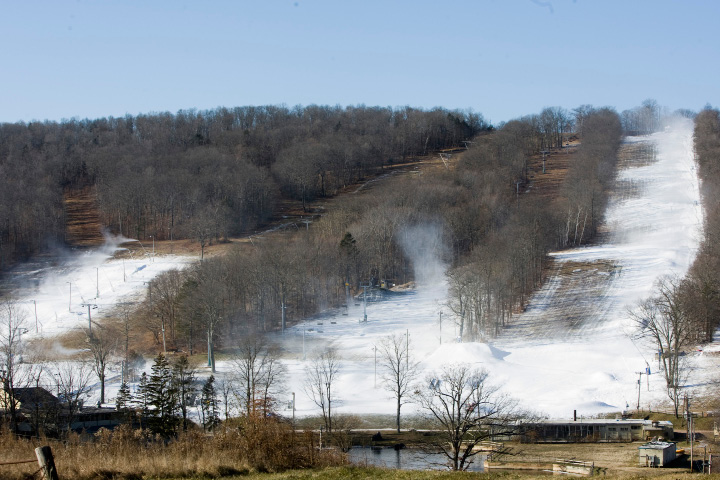 Snowmaking continues at Powder Ridge Mountain Park in Middlefield, Thursday, Dec. 15, 2016. Powder Ridge opens this weekend.  | Dave Zajac, Record-Journal