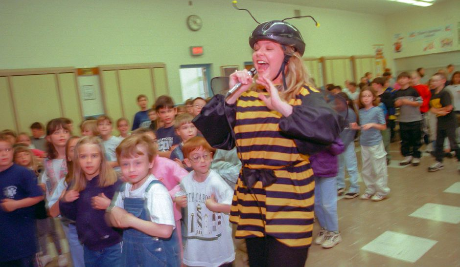 "RJ file photo - Devon Pickel, of San Diego, Calif. runs through North Center School dressed as a bee, singing about health, May 1999. Pickel performed as a member of the ""Opera of Health"" program put on by an opera troupe called the Little Angels."
