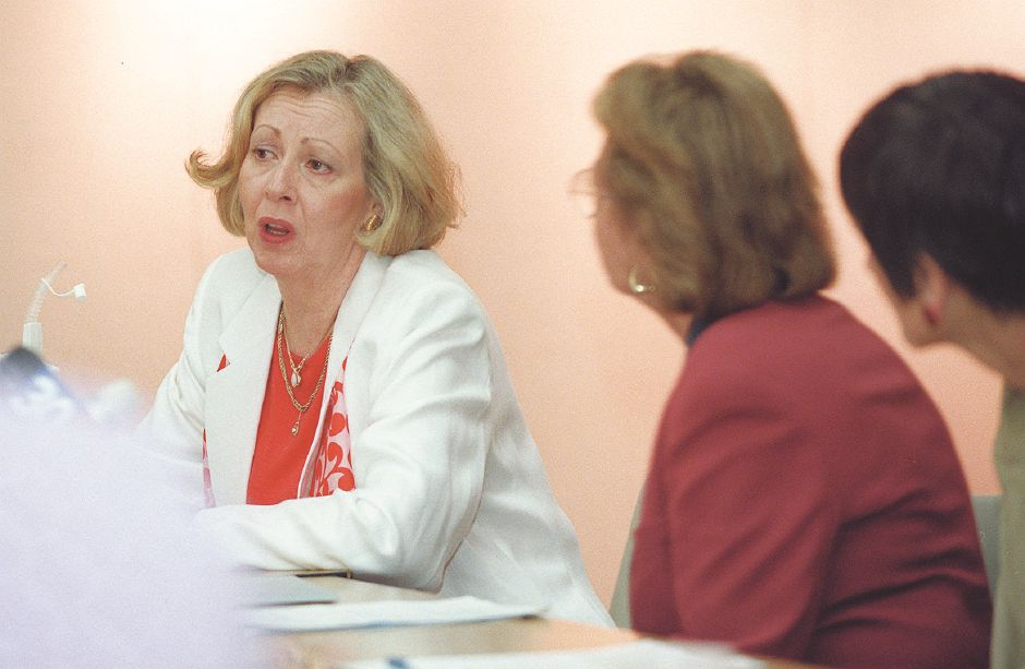 RJ file photo - Wallingford Resident Sharon Crossley airs concerns over health care with U.S. Rep. Rosa DeLauro and gubernatorial candidate Barbara Kennelly Aug. 10, 1998.