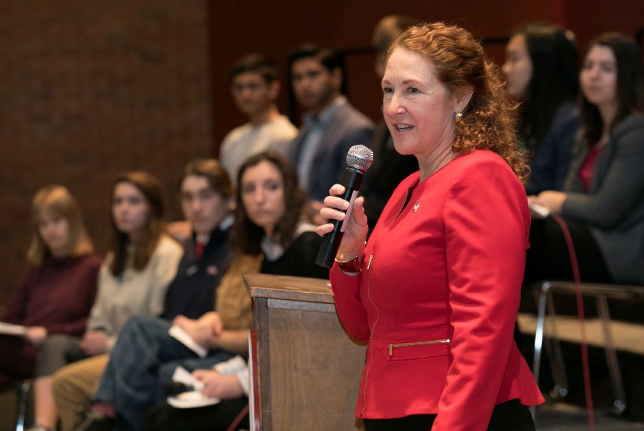 Congresswoman Elizabeth Esty (CT-5) discusses gun violence prevention and school safety with students at Cheshire High School, Monday, March 19, 2018. Dave Zajac, Record-Journal