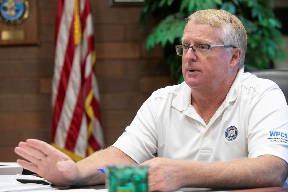 Meriden Police Chief Jeffry Cossette speaks about budget cuts at the department, Wednesday, August 29, 2018. Dave Zajac, Record-Journal