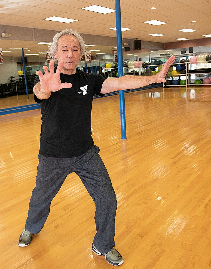 Tai Chi instructor George Donahue demonstrates movements of the martial art at the Wallingford YMCA, Fri., Jan. 25, 2019. Dave Zajac, Record-Journal