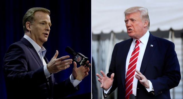 "FILE - At left, in a Feb. 1, 2017, file photo, NFL Commissioner Roger Goodell answers questions during a news conference for the Super Bowl 51 football game, in Houston. At right, in an Oct. 7, 2017, file photo, President Donald Trump speaks to reporters at the White House in Washington. President Donald Trump is again criticizing the NFL over players kneeling during the national anthem. Trump said on Twitter Wednesday, Oct. 18, 2017, that the ""NFL has decided that it will not force players to stand for the playing of our National Anthem."" He adds: ""Total disrespect for our great country!"" (AP Photo/File)"