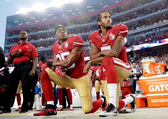 "FILE - In this Monday, Sept. 12, 2016, file photo, San Francisco 49ers safety Eric Reid (35) and quarterback Colin Kaepernick (7) kneel during the national anthem before an NFL football game against the Los Angeles Rams in Santa Clara, Calif. NFL owners have approved a new policy aimed at addressing the firestorm over national anthem protests, permitting players to stay in the locker room during the ""The Star-Spangled Banner"" but requiring them to stand if they come to the field. The decision was announced Wednesday, May 23, 2018,  by NFL Commissioner Roger Goodell during the league"