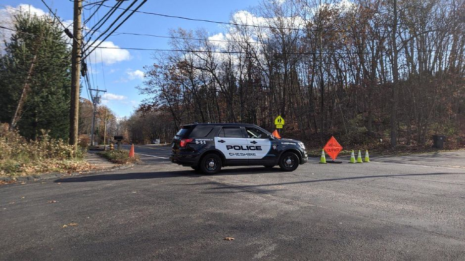 A police cruiser was parked at the intersection of Waterbury and Winslow roads Friday afternoon while emergency crews investigated a two-vehicle cras