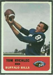 Tom Rychlec who stared at Meriden High School on the basketball court, baseball diamond and gridiron played five years in the NFL as a tight end. In 1960 Rychlec finished tied for 9th in the NFL with 45 catches, the highest for tight ends that season. During his career he played for the Detroit Lions, Buffalo Bills and Denver Broncos. | Photo courtesy footballcardgallery.com