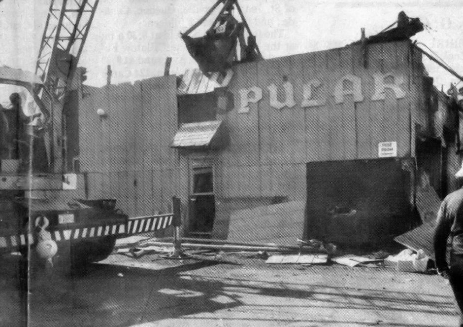 File photo - Demolition begins on the Popular Restaurant Oct. 22, 1991 in downtown Southington.