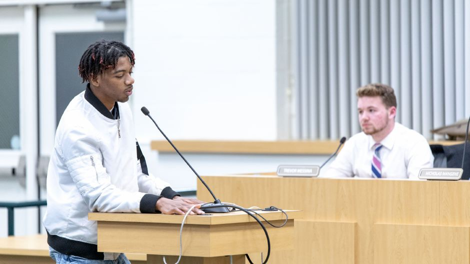Jehvanni Morgan, 17, spoke about growing up amid racism and fearing what his sister will experience as she goes into school in Southington. Several students and parents shared similar experiences at a Board of Education meeting on Jan 10, 2019. | Devin Leith-Yessian/Record-Journal