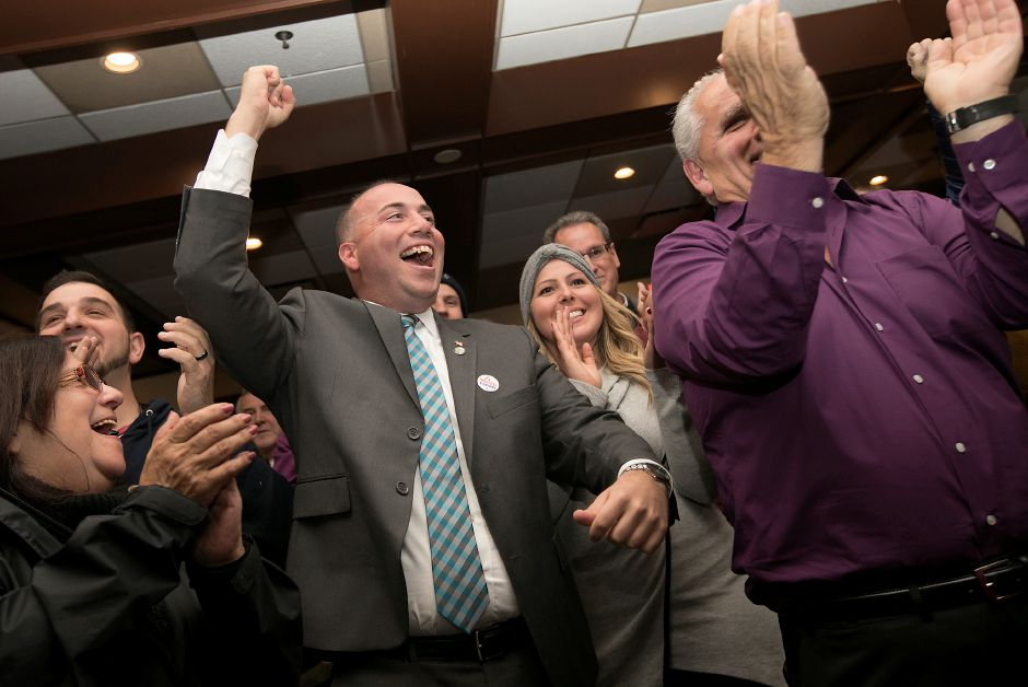 Mayor Kevin Scarpati celebrates winning a second term with supporters gathered at Silver City Sports Bar & Grill in Meriden, Tuesday, Nov. 7, 2017. | Dave Zajac, Record-Journal
