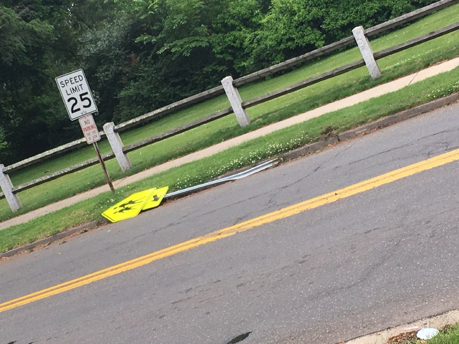 A motorcyclist sustained a head injury after a vehicle collision near North Main and Christian streets in Wallingford, June 17, 2019. | Lauren Takores, Record-Journal