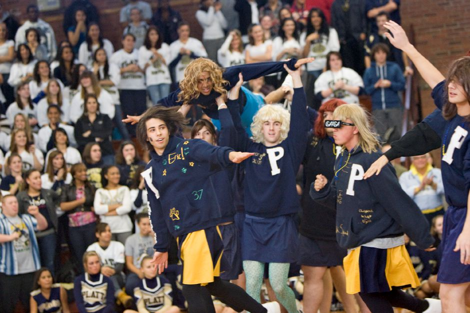 Platt powder puff cheerleaders perform during the school