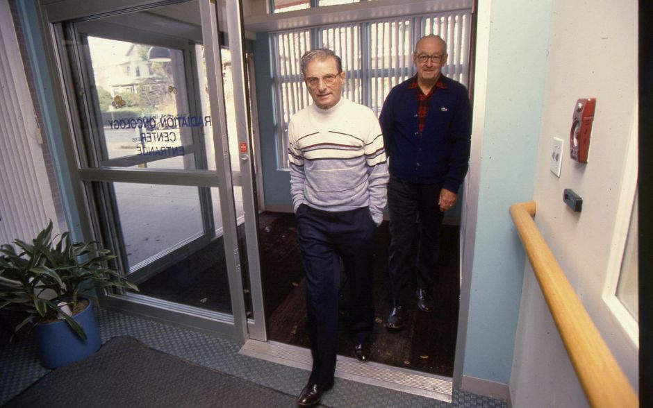 RJ file photo - John Rice of RSVP takes Danny Caruso to Veterans Memorial Center for radiation treatment, March 1994.
