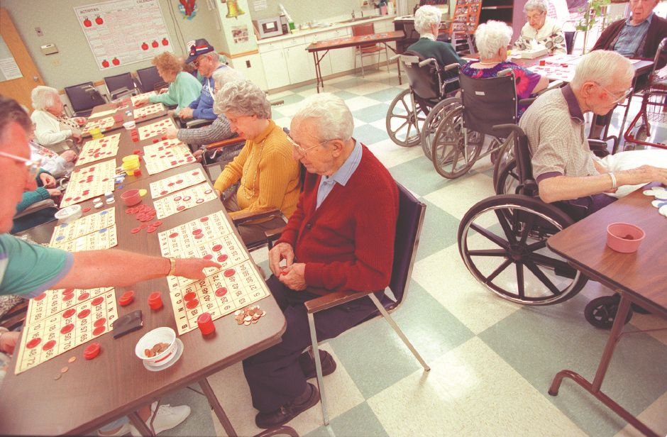 RJ file photo - Residents at Southington Care Center play bingo three times a week, Sept. 1998.