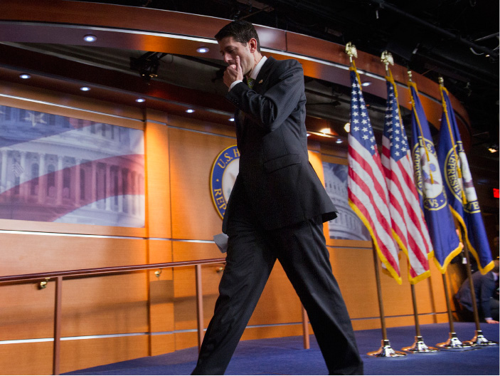 House Speaker Paul Ryan of Wis. leaves after telling the news media that he has pulled the health care overhaul bill, Friday, March 24, 2017, on Capitol Hill in Washington. Speaking about the failure of health care bill: Ryan said: