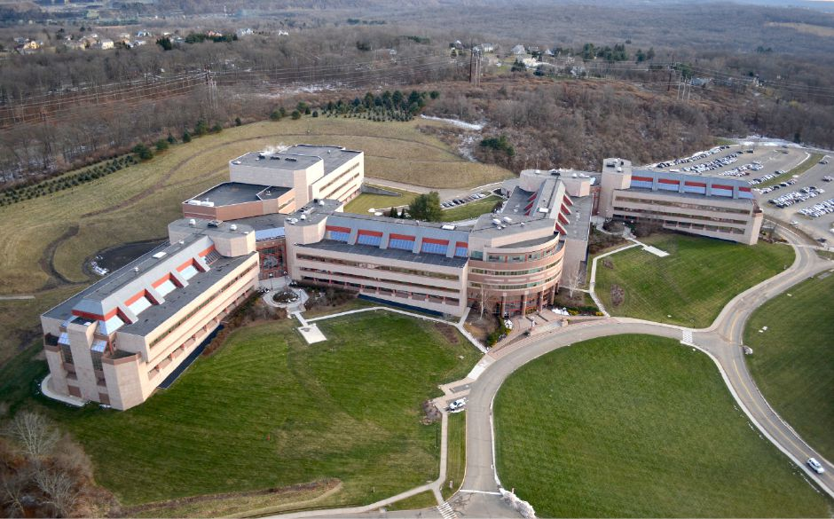 Bristol-Myers Squibb in Wallingford, as seen from a helicopter in December 2016.