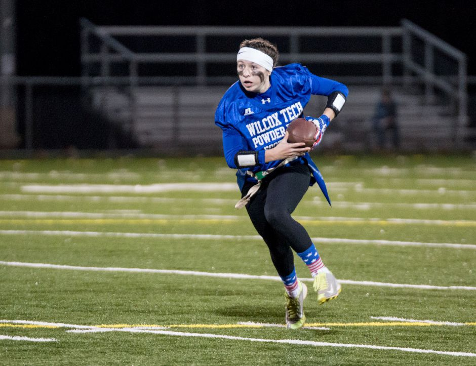 Wilcox Tech Powder Puff Football player Samantha Petro scored four touchdowns Wilcox